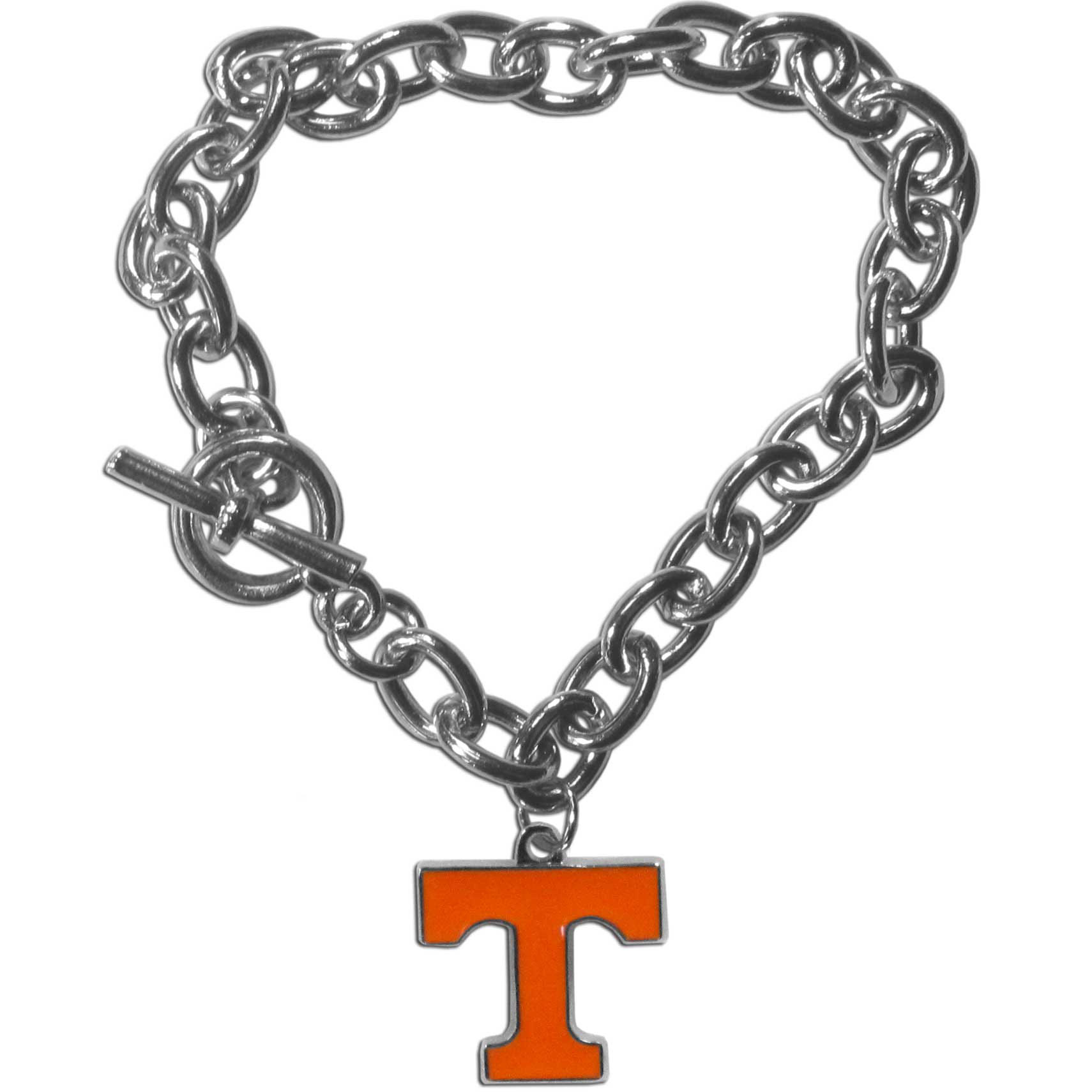 Tennessee Volunteers Charm Chain Bracelet - Our classic single charm bracelet is a great way to show off your team pride! The 7.5 inch large link chain features a high polish Tennessee Volunteers charm and features a toggle clasp which makes it super easy to take on and off.