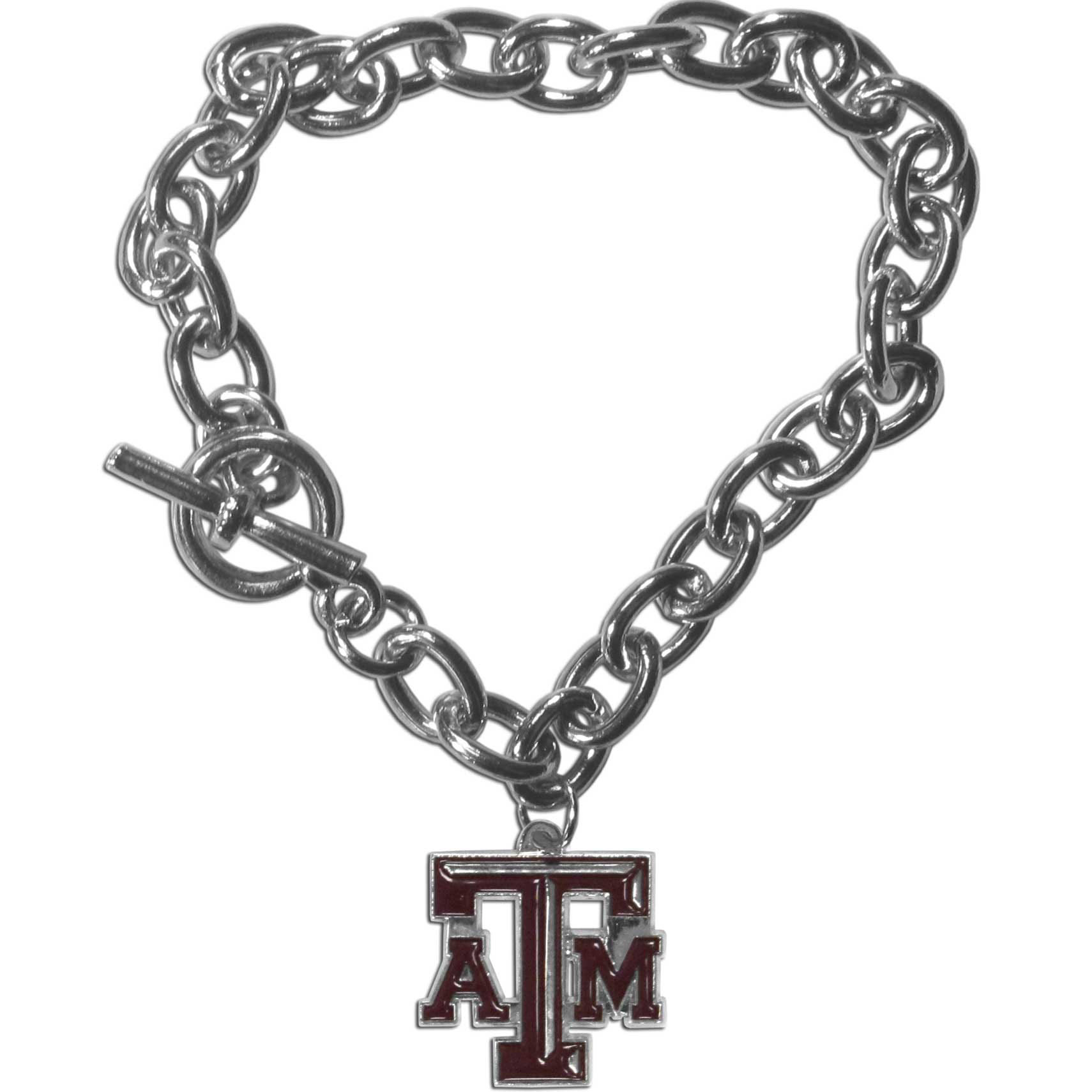 Texas A and M Aggies Charm Chain Bracelet - Our classic single charm bracelet is a great way to show off your team pride! The 7.5 inch large link chain features a high polish Texas A & M Aggies charm and features a toggle clasp which makes it super easy to take on and off.