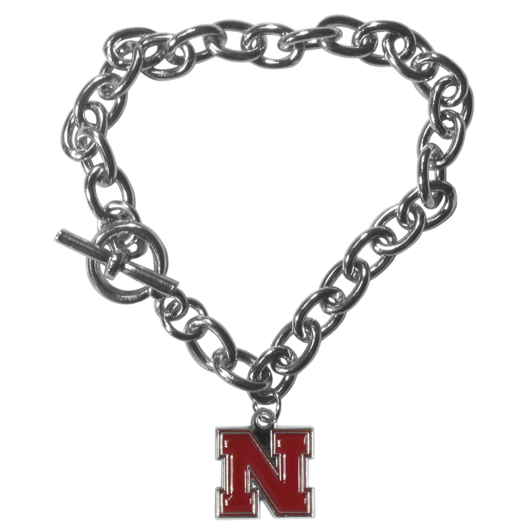Nebraska Cornhuskers Charm Chain Bracelet - Our classic single charm bracelet is a great way to show off your team pride! The 7.5 inch large link chain features a high polish Nebraska Cornhuskers charm and features a toggle clasp which makes it super easy to take on and off.