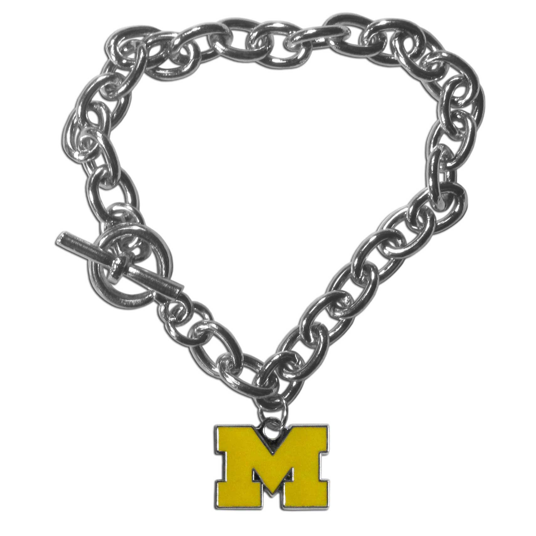 Michigan Wolverines Charm Chain Bracelet - Our classic single charm bracelet is a great way to show off your team pride! The 7.5 inch large link chain features a high polish Michigan Wolverines charm and features a toggle clasp which makes it super easy to take on and off.