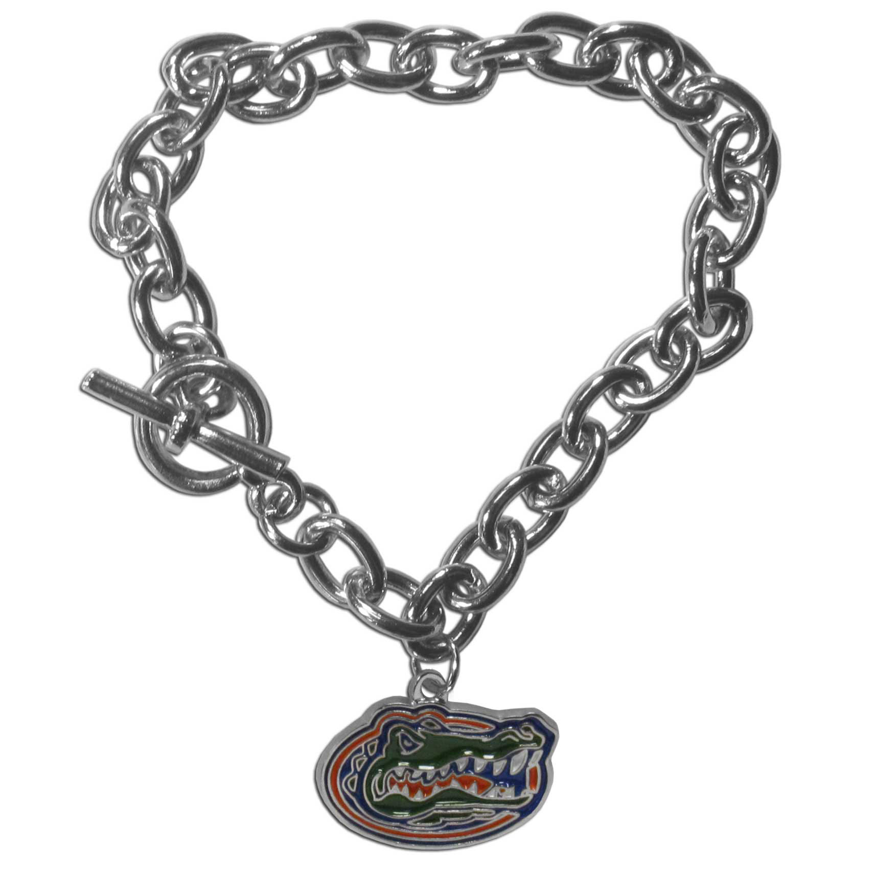 Florida Gators Charm Chain Bracelet - Our classic single charm bracelet is a great way to show off your team pride! The 7.5 inch large link chain features a high polish Florida Gators charm and features a toggle clasp which makes it super easy to take on and off.