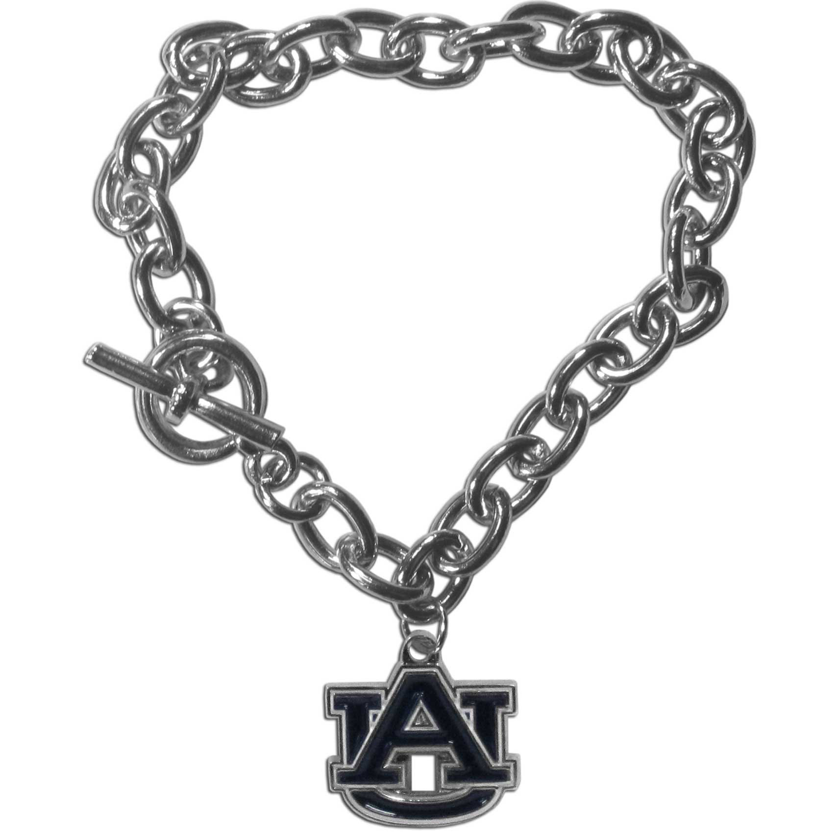 Auburn Tigers Charm Chain Bracelet - Our classic single charm bracelet is a great way to show off your team pride! The 7.5 inch large link chain features a high polish Auburn Tigers charm and features a toggle clasp which makes it super easy to take on and off.