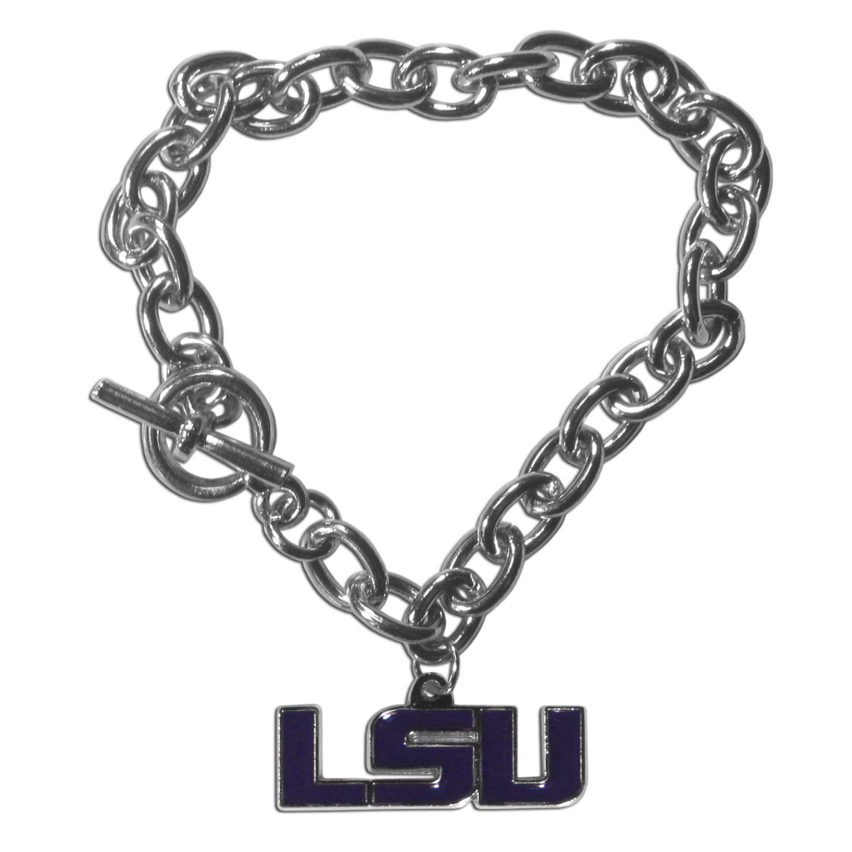 LSU Tigers Charm Chain Bracelet - Our classic single charm bracelet is a great way to show off your team pride! The 7.5 inch large link chain features a high polish LSU Tigers charm and features a toggle clasp which makes it super easy to take on and off.