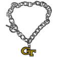 Georgia Tech Yellow Jackets Charm Chain Bracelet - This Georgia Tech Yellow Jackets classic single charm bracelet is a great way to show off your team pride! The 7.5 inch large link chain features a high polish Georgia Tech Yellow Jackets charm and features a toggle clasp which makes it super easy to take on and off.  Thank you for shopping with CrazedOutSports.com