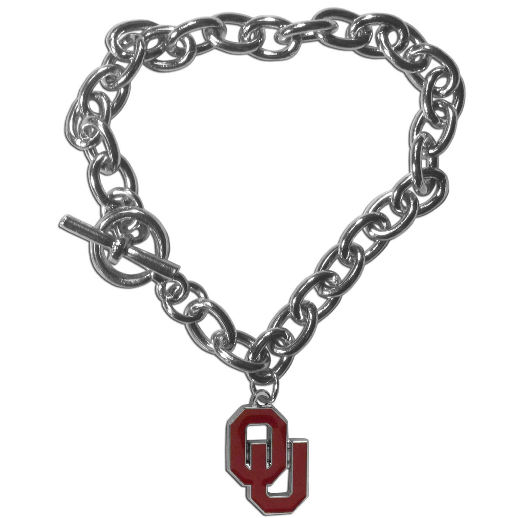 Oklahoma Sooners Charm Chain Bracelet - Our classic single charm bracelet is a great way to show off your team pride! The 7.5 inch large link chain features a high polish Oklahoma Sooners charm and features a toggle clasp which makes it super easy to take on and off.