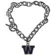 Washington Huskies Charm Chain Bracelet - Our classic single charm bracelet is a great way to show off your team pride! The 7.5 inch large link chain features a high polish Washington Huskies charm and features a toggle clasp which makes it super easy to take on and off.  Thank you for shopping with CrazedOutSports.com