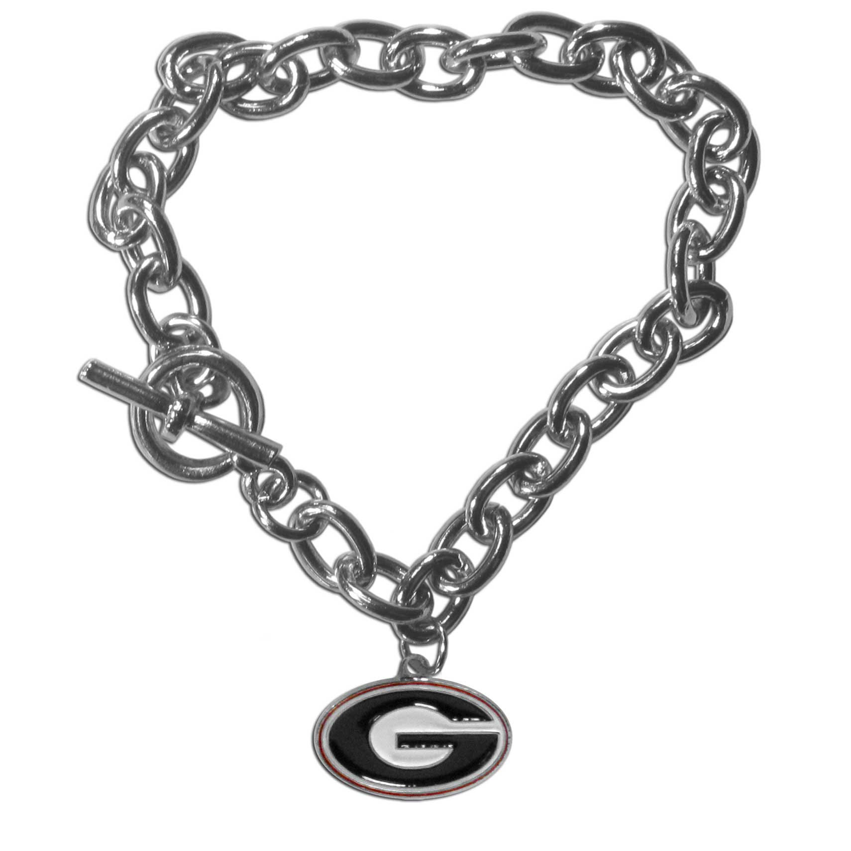 Georgia Bulldogs Charm Chain Bracelet - Our classic single charm bracelet is a great way to show off your team pride! The 7.5 inch large link chain features a high polish Georgia Bulldogs charm and features a toggle clasp which makes it super easy to take on and off.