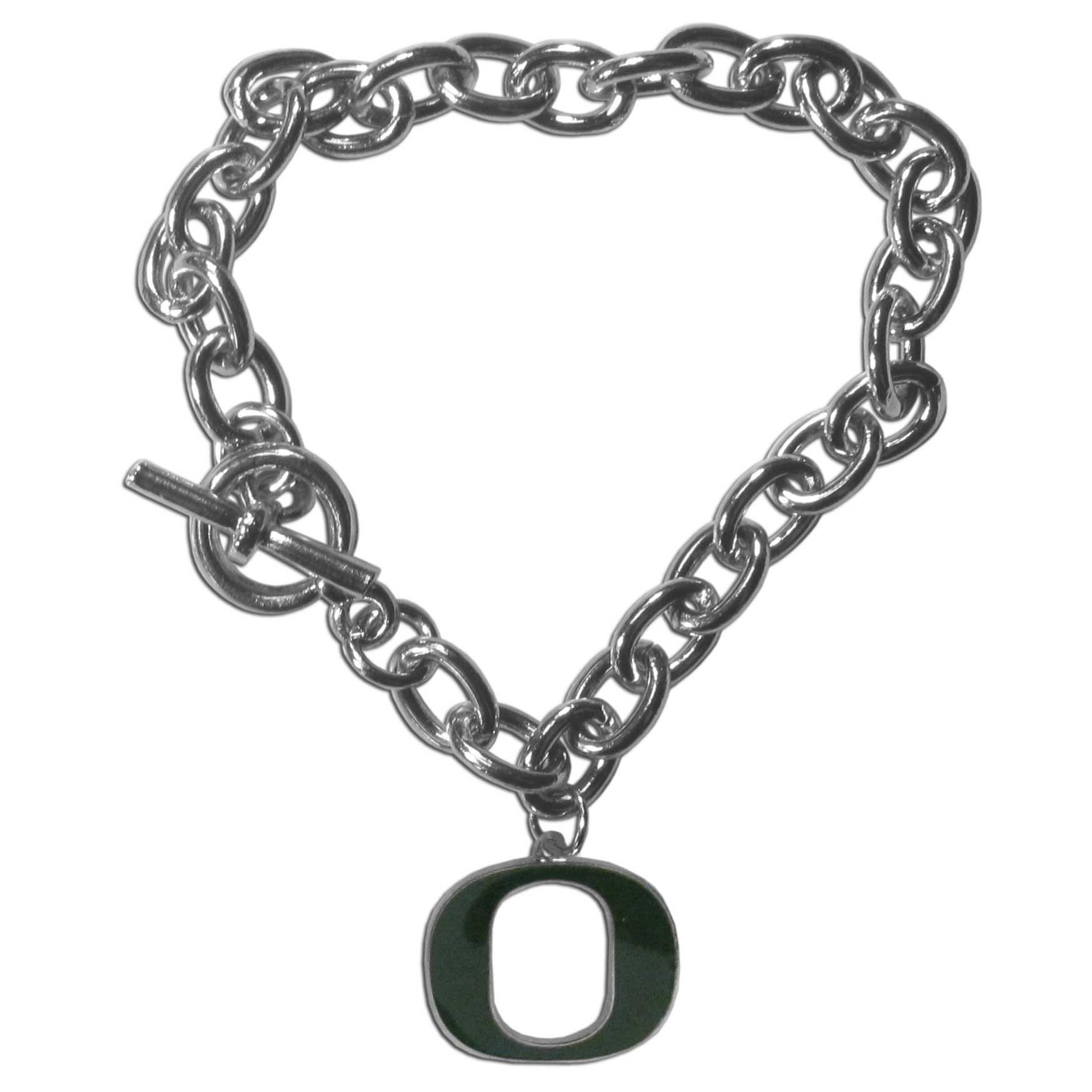 Oregon Ducks Charm Chain Bracelet - Our classic single charm bracelet is a great way to show off your team pride! The 7.5 inch large link chain features a high polish Oregon Ducks charm and features a toggle clasp which makes it super easy to take on and off.