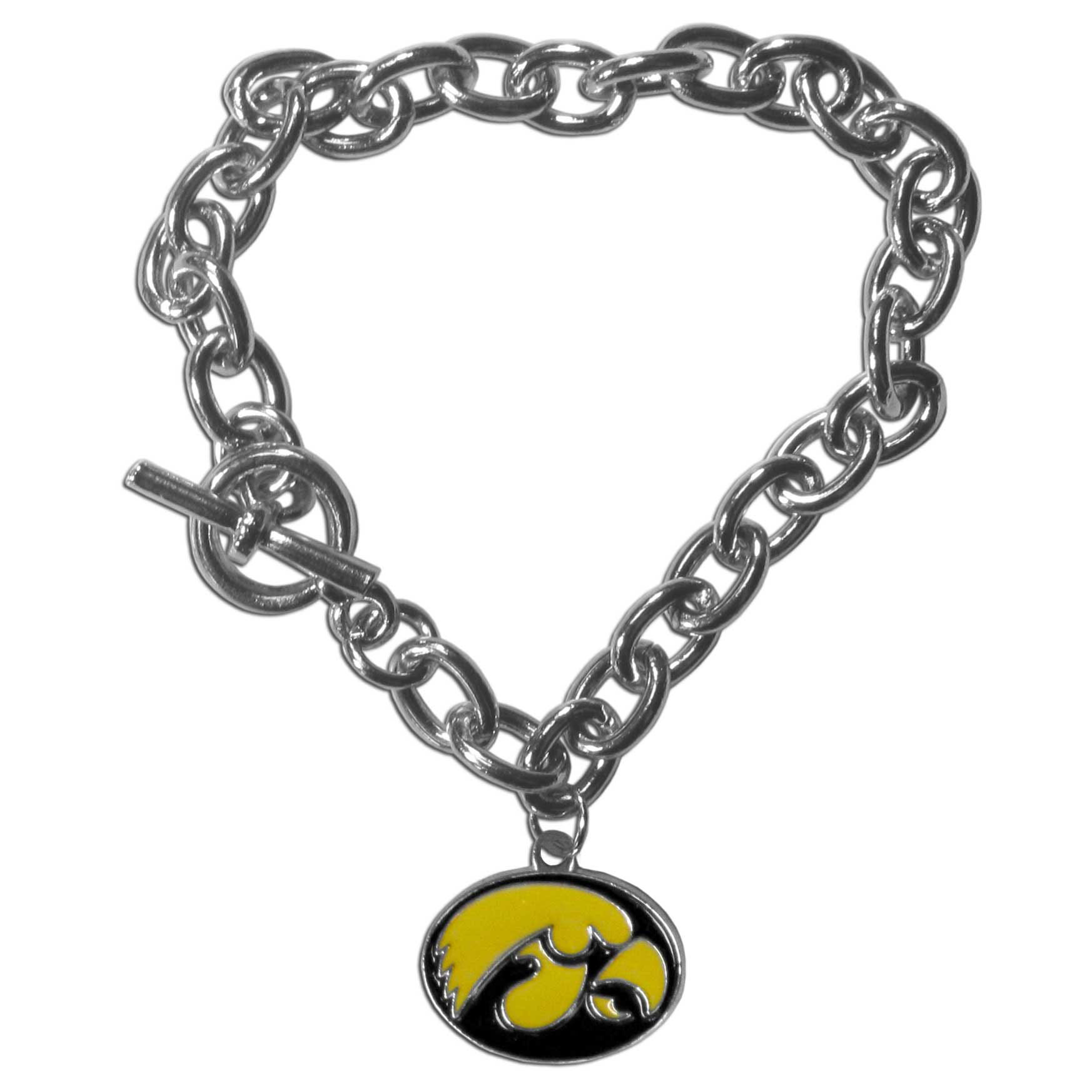 Iowa Hawkeyes Charm Chain Bracelet - Our classic single charm bracelet is a great way to show off your team pride! The 7.5 inch large link chain features a high polish Iowa Hawkeyes charm and features a toggle clasp which makes it super easy to take on and off.