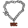 USC Trojans Charm Chain Bracelet - Our classic single charm bracelet is a great way to show off your team pride! The 7.5 inch large link chain features a high polish USC Trojans charm and features a toggle clasp which makes it super easy to take on and off.  Thank you for shopping with CrazedOutSports.com