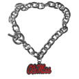 Mississippi Rebels Charm Chain Bracelet - This classic Mississippi Rebels Charm Chain Bracelet is a great way to show off your team pride! The Mississippi Rebels Charm Chain Bracelet has a 7.5 inch large link chain features a high polish Mississippi Rebels charm and features a toggle clasp which makes it super easy to take on and off.  Thank you for shopping with CrazedOutSports.com
