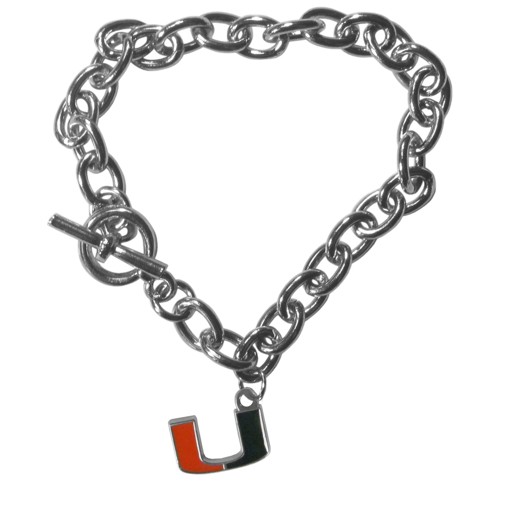 Miami Hurricanes Charm Chain Bracelet - Our classic single charm bracelet is a great way to show off your team pride! The 7.5 inch large link chain features a high polish Miami Hurricanes charm and features a toggle clasp which makes it super easy to take on and off.
