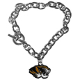 Missouri Tigers Charm Chain Bracelet - Our classic single charm bracelet is a great way to show off your team pride! The 7.5 inch large link chain features a high polish Missouri Tigers charm and features a toggle clasp which makes it super easy to take on and off.  Thank you for shopping with CrazedOutSports.com