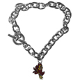 Arizona St. Sun Devils Charm Chain Bracelet - Our classic single charm bracelet is a great way to show off your team pride! The 7.5 inch large link chain features a high polish Arizona State Sun Devils charm and features a toggle clasp which makes it super easy to take on and off.  Thank you for shopping with CrazedOutSports.com