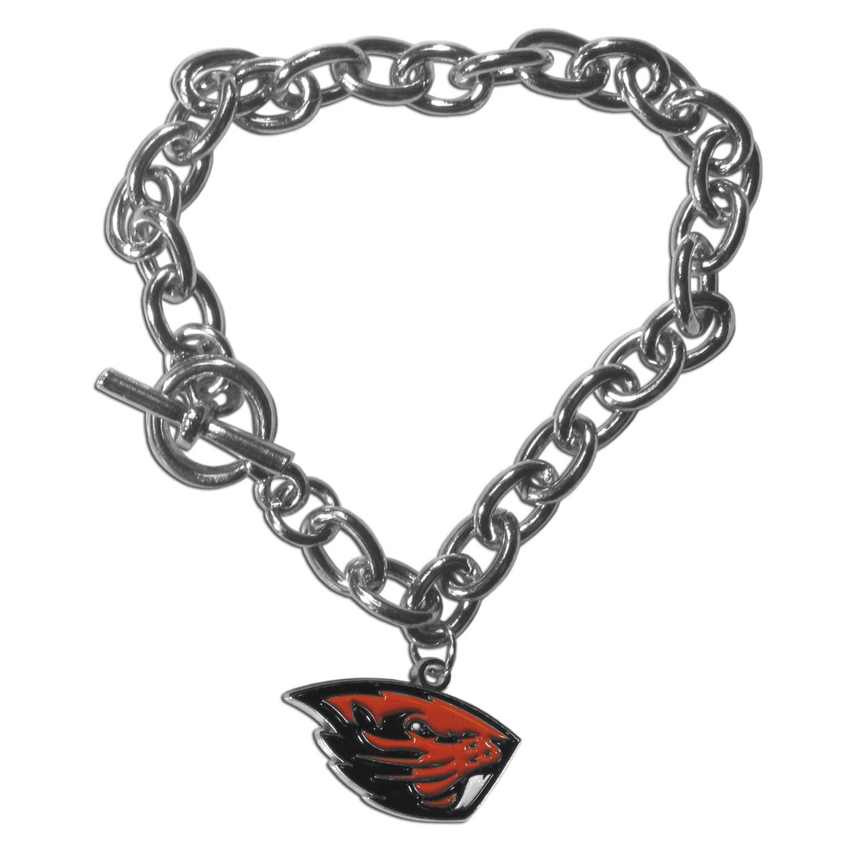 Oregon St. Beavers Charm Chain Bracelet - Our classic single charm bracelet is a great way to show off your team pride! The 7.5 inch large link chain features a high polish Oregon St. Beavers charm and features a toggle clasp which makes it super easy to take on and off.
