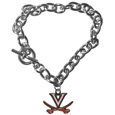 Virginia Cavaliers Charm Chain Bracelet - Our classic single charm bracelet is a great way to show off your team pride! The 7.5 inch large link chain features a high polish Virginia Cavaliers charm and features a toggle clasp which makes it super easy to take on and off.
