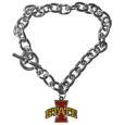 Iowa St. Cyclones Charm Chain Bracelet - This classic single Iowa St. Cyclones charm bracelet is a great way to show off your team pride! The 7.5 inch large link chain features a high polish Iowa St. Cyclones charm and features a toggle clasp which makes it super easy to take on and off.  Thank you for shopping with CrazedOutSports.com