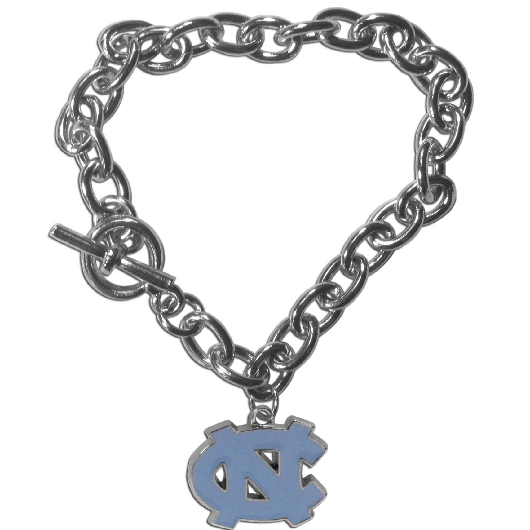 N. Carolina Tar Heels Charm Chain Bracelet - Our classic single charm bracelet is a great way to show off your team pride! The 7.5 inch large link chain features a high polish N. Carolina Tar Heels charm and features a toggle clasp which makes it super easy to take on and off.