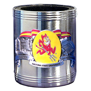 College Can Cooler - Arizona St. Sun Devils - Our Arizona State Sun Devils college stainless steel can cooler will keep your drink cool while pre-game tailgating or armchair quarterbacking. Features our signature sculpted and enameled emblem that depicts both the team and campus landmarks.  Thank you for shopping with CrazedOutSports.com