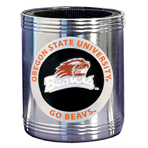 College Can Cooler - Oregon State Beavers - Our  college stainless steel can cooler will keep your drink cool while pre-game tailgating or armchair quarterbacking. Features our signature sculpted and enameled emblem that depicts both the team and campus landmarks.  Thank you for shopping with CrazedOutSports.com