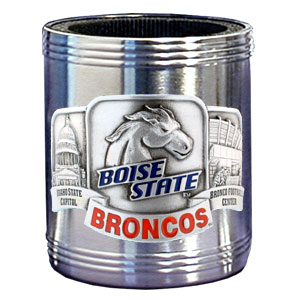 College Can Cooler - Boise State Broncos - Our Boise State Broncos college stainless steel can cooler will keep your drink cool while pre-game tailgating or armchair quarterbacking. Features our signature sculpted and enameled emblem that depicts both the team and campus landmarks.  Thank you for shopping with CrazedOutSports.com