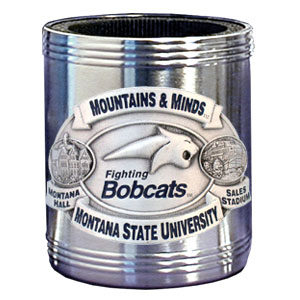 College Can Cooler - Montana State Bobcats - Our  college stainless steel can cooler will keep your drink cool while pre-game tailgating or armchair quarterbacking. Features our signature sculpted and enameled emblem that depicts both the team and campus landmarks.  Thank you for shopping with CrazedOutSports.com