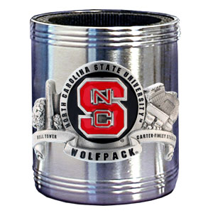 College Can Cooler - N. Carolina State Wolfpack - Our  college stainless steel can cooler will keep your drink cool while pre-game tailgating or armchair quarterbacking. Features our signature sculpted and enameled emblem that depicts both the team and campus landmarks.  Thank you for shopping with CrazedOutSports.com