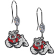 Fresno St. Bulldogs Crystal Dangle Earrings - Our crystal dangle earrings are the perfect accessory for your game day outfit! The earrings are approximately 1.5 inches long and feature an iridescent crystal bead and nickel free chrome Fresno St. Bulldogs charm on nickel free, hypoallergenic fishhook posts.