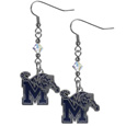 Memphis Tigers Crystal Dangle Earrings - Memphis Tigers Crystal Dangle Earrings are the perfect accessory for your game day outfit! The Memphis Tigers Crystal Dangle Earrings are approximately 1.5 inches long and feature an iridescent crystal bead and nickel free chrome Memphis Tigers charm on nickel free, hypoallergenic fishhook posts. Thank you for shopping with CrazedOutSports.com