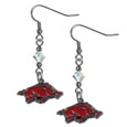 Arkansas Razorbacks Crystal Dangle Earrings - Arkansas Razorbacks crystal dangle earrings are the perfect accessory for your game day outfit! The earrings are approximately 1.5 inches long and feature an iridescent crystal bead and nickel free chrome Arkansas Razorbacks charm on nickel free, hypoallergenic fishhook posts. Thank you for shopping with CrazedOutSports.com