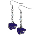 Kansas St. Wildcats Crystal Dangle Earrings - These Kansas St. Wildcats crystal dangle earrings are the perfect accessory for your game day outfit! The earrings are approximately 1.5 inches long and feature an iridescent crystal bead and nickel free chrome Kansas St. Wildcats charm on nickel free, hypoallergenic fishhook posts. Thank you for shopping with CrazedOutSports.com