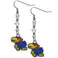 Kansas Jayhawks Crystal Dangle Earrings - These Kansas Jayhawks crystal dangle earrings are the perfect accessory for your game day outfit! The earrings are approximately 1.5 inches long and feature an iridescent crystal bead and nickel free chrome Kansas Jayhawks charm on nickel free, hypoallergenic fishhook posts. Thank you for shopping with CrazedOutSports.com