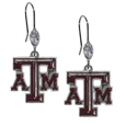 Texas A and M Aggies Crystal Dangle Earrings - Our collegieate crystal dangle earrings are the perfect accessory for your game day outfit! The earrings are approximately 1.5 inches long and feature an iridescent crystal bead and nickel free chrome Texas A & M Aggies charm on nickel free, hypoallergenic fishhook posts. Thank you for shopping with CrazedOutSports.com
