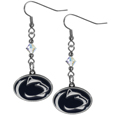 Penn St. Nittany Lions Crystal Dangle Earrings - Our crystal dangle earrings are the perfect accessory for your game day outfit! The earrings are approximately 1.5 inches long and feature an iridescent crystal bead and nickel free chrome Penn St. Nittany Lions charm on nickel free, hypoallergenic fishhook posts. Thank you for shopping with CrazedOutSports.com
