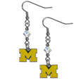 Michigan Wolverines Crystal Dangle Earrings - Collegiate Michigan Wolverines Crystal Dangle Earrings are the perfect accessory for your game day outfit! The Michigan Wolverines Crystal Dangle Earrings are approximately 1.5 inches long and feature an iridescent crystal bead and nickel free chrome Michigan Wolverines charm on nickel free, hypoallergenic fishhook posts. Thank you for shopping with CrazedOutSports.com
