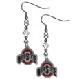 Ohio St. Buckeyes Crystal Dangle Earrings - Our collegieate crystal dangle earrings are the perfect accessory for your game day outfit! The earrings are approximately 1.5 inches long and feature an iridescent crystal bead and nickel free chrome Ohio St. Buckeyes charm on nickel free, hypoallergenic fishhook posts. Thank you for shopping with CrazedOutSports.com