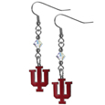 Indiana Hoosiers Crystal Dangle Earrings - Our crystal dangle earrings are the perfect accessory for your game day outfit! The earrings are approximately 1.5 inches long and feature an iridescent crystal bead and nickel free chrome Indiana Hoosiers charm on nickel free, hypoallergenic fishhook posts. Thank you for shopping with CrazedOutSports.com