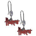 Nebraska Cornhuskers Crystal Dangle Earrings - Our collegieate crystal dangle earrings are the perfect accessory for your game day outfit! The earrings are approximately 1.5 inches long and feature an iridescent crystal bead and nickel free chrome Nebraska Cornhuskers charm on nickel free, hypoallergenic fishhook posts. Thank you for shopping with CrazedOutSports.com