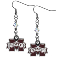 Mississippi St. Bulldogs Crystal Dangle Earrings - Our crystal dangle earrings are the perfect accessory for your game day outfit! The earrings are approximately 1.5 inches long and feature an iridescent crystal bead and nickel free chrome Mississippi St. Bulldogs charm on nickel free, hypoallergenic fishhook posts.