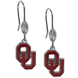 Oklahoma Sooners Crystal Dangle Earrings - Our collegieate crystal dangle earrings are the perfect accessory for your game day outfit! The earrings are approximately 1.5 inches long and feature an iridescent crystal bead and nickel free chrome Oklahoma Sooners charm on nickel free, hypoallergenic fishhook posts. Thank you for shopping with CrazedOutSports.com