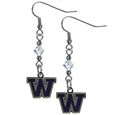 Washington Huskies Crystal Dangle Earrings - Our crystal dangle earrings are the perfect accessory for your game day outfit! The earrings are approximately 1.5 inches long and feature an iridescent crystal bead and nickel free chrome Washington Huskies charm on nickel free, hypoallergenic fishhook posts. Thank you for shopping with CrazedOutSports.com