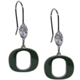 Oregon Ducks Crystal Dangle Earrings - Our collegieate crystal dangle earrings are the perfect accessory for your game day outfit! The earrings are approximately 1.5 inches long and feature an iridescent crystal bead and nickel free chrome Oregon Ducks charm on nickel free, hypoallergenic fishhook posts. Thank you for shopping with CrazedOutSports.com