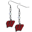 Wisconsin Badgers Crystal Dangle Earrings - Our collegieate crystal dangle earrings are the perfect accessory for your game day outfit! The earrings are approximately 1.5 inches long and feature an iridescent crystal bead and nickel free chrome Wisconsin Badgers charm on nickel free, hypoallergenic fishhook posts.