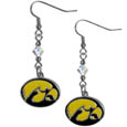 Iowa Hawkeyes Crystal Dangle Earrings - These collegiate Iowa Hawkeyes crystal dangle earrings are the perfect accessory for your game day outfit! The earrings are approximately 1.5 inches long and feature an iridescent crystal bead and nickel free chrome Iowa Hawkeyes charm on nickel free, hypoallergenic fishhook posts. Thank you for shopping with CrazedOutSports.com
