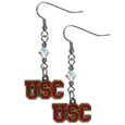 USC Trojans Crystal Dangle Earrings - Our crystal dangle earrings are the perfect accessory for your game day outfit! The earrings are approximately 1.5 inches long and feature an iridescent crystal bead and nickel free chrome USC Trojans charm on nickel free, hypoallergenic fishhook posts. Thank you for shopping with CrazedOutSports.com