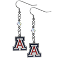 Arizona Wildcats Crystal Dangle Earrings - Our Arizona Wildcats crystal dangle earrings are the perfect accessory for your game day outfit! The earrings are approximately 1.5 inches long and feature an iridescent crystal bead and nickel free chrome Arizona Wildcats charm on nickel free, hypoallergenic fishhook posts. Thank you for shopping with CrazedOutSports.com