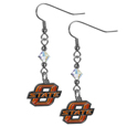 Oklahoma St. Cowboys Chrome Dangle Earrings - Our collegieate crystal dangle earrings are the perfect accessory for your game day outfit! The earrings are approximately 1.5 inches long and feature an iridescent crystal bead and nickel free chrome Oklahoma St. Cowboys charm on nickel free, hypoallergenic fishhook posts.