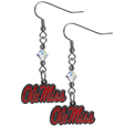 Mississippi Rebels Crystal Dangle Earrings - Our crystal dangle earrings are the perfect accessory for your game day outfit! The earrings are approximately 1.5 inches long and feature an iridescent crystal bead and nickel free chrome Mississippi Rebels charm on nickel free, hypoallergenic fishhook posts. Thank you for shopping with CrazedOutSports.com