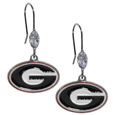 Georgia Bulldogs Crystal Dangle Earrings - Our collegieate Georgia Bulldogs crystal dangle earrings are the perfect accessory for your game day outfit! The earrings are approximately 1.5 inches long and feature an iridescent crystal bead and nickel free chrome Georgia Bulldogs charm on nickel free, hypoallergenic fishhook posts. Thank you for shopping with CrazedOutSports.com