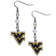 W. Virginia Mountaineers Crystal Dangle Earrings - Our collegiate crystal dangle earrings are the perfect accessory for your game day outfit! The earrings are approximately 1.5 inches long and feature an iridescent crystal bead and nickel free chrome W. Virginia Mountaineers charm on nickel free, hypoallergenic fishhook posts. Thank you for shopping with CrazedOutSports.com